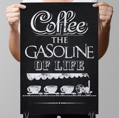 "Wall Art-Kitchen-Drinks-Chalkboard Coffee-Train of Cups of Coffee-Vintage Coffee Grinder-Coffee the gasoline of life-Print 8.5 x 11"" No.1026"