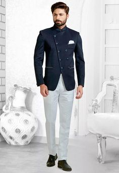 This Readymade attire is Enhanced with Buttons and is Crafted in Chinese Collar Neck and Full Sleeve Indian Groom Dress, Wedding Dresses Men Indian, Wedding Dress Men, Wedding Suits, Tuxedo Wedding, Punjabi Wedding, Indian Weddings, Wedding Couples, Blazer Outfits Men