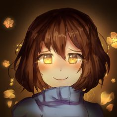 Frisk with golden eyes (redraw... kinda) by janineuy09