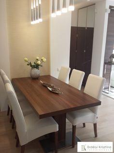 Modern étkező ötletek - dió, fehér, bézs - Erdélyi Krisztina belsőépítész, lakberendező -  belsőépítészeti és lakberendezői munkák