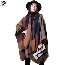 HUOX Chic Plaid Female Spring 2016 Autumn Winter Poncho Outwear Thick Oversize…