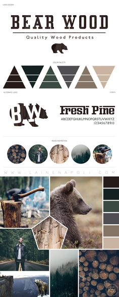 New launch from the Branding Studio. Bear Wood Carpentry. Bear browns, forrest greens, lumberjack vibes, masculine themed mood board. Smell the fresh air! Logo Design. Rustic Wood Furnishings. Masculine Branding. Laine Napoli Branding www.lainenapoli.com