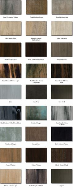 Chart showing different finishes. This is from a furniture store, no tutorials.