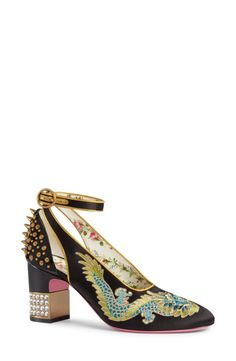 Gucci Gucci Caspar Embroidered Ankle Strap Pump (Women) available at #Nordstrom