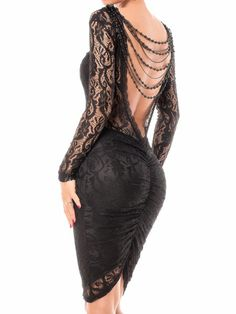 Sexy Long Sleeve Round Neck Backless Slimming See-Through Women's Dress