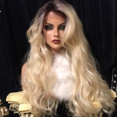 """Lovely Rooted 613 Rooted Blonde SWISS Lace Front Wig 24"""" Long With Layered Waves #Unbranded #FullWig"""