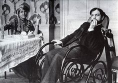 "Debussy with Zohra ben Brahim, 1897, at the house of their friend the  poet and photographer Pierre Louÿs. Louÿs brought Zohra to Paris from Algeria as a kind of muse, and, well… ""We are stuck together like two dogs in the street,"" he had written to Debussy."