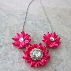 Bridesmaid Jewelry Hot Pink Bridesmaid Necklace Hot Pink Necklace Hot Pink Wedding Jewelry Flower Jewelry Custom Necklaces Bright Pink
