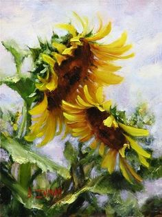 7 Easy Steps You Need To Paint A Dazzling Sunflower Field 7 Steps To Paint A Dazzling Kansas Sunflower Field Master Oil Painting Simple Oil Painting, Oil Painting For Sale, Oil Painting Flowers, Watercolor Flowers, Painting Steps, Painting Clouds, Paint Flowers, Painting Lessons, Watercolor Landscape