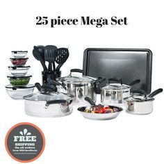 Essential Stainless Steel Mega Cookware Set Pots And Pans Kitchen Bowls Pots And Pans Sets, Kitchen Sale, Pan Set, Cookware Set, Dinnerware Sets, Bakeware, Modern House Design, Kitchen Appliances, Stainless Steel