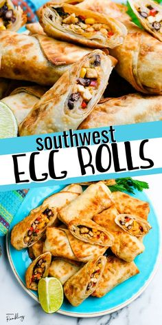 Air fryer southwest egg rolls make a tasty appetizer - just like Chilis egg rolls! Chicken combines with corn, beans, onions, cheese and spicy Tex Mex seasoning for an easy to make homemade egg roll. Dip these homemade egg rolls in guacamole or ranch dip for a restaurant quality appetizer at home. Yummy Appetizers, Yummy Snacks, Snack Recipes, Ninja Recipes, Sweets Recipes, Yummy Treats, Healthy Recipes, Kid Friendly Chicken Recipes, Treats