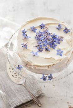 Wax Flowers sprinkled on the cake
