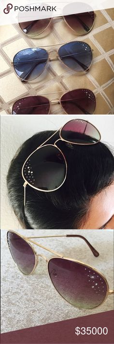 """🆕😎 NWT Rhinestone Accented Aviator Sunglasses Color: Blue (2 total) and Maroon (4 total). Size: 6""""L, 6""""W, 2.25"""" H. Has rhinestones accenting the side lenses with gold frame and arms Accessories Glasses"""