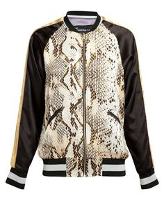 Yellow and brown python printed silk bomber jacket from Guns Germs $teal / Browns