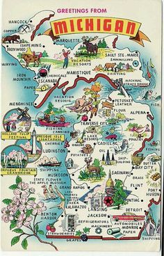 Vintage Michigan Postcard - Greetings From Michigan - State Map . Michigan State Map, Michigan Travel, Detroit Michigan, Torch Lake Michigan, Holly Michigan, Niles Michigan, Detroit Downtown, Muskegon Michigan, Michigan Wolverines