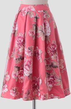 Old Hollywood Floral Midi Skirt