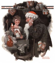 This was the first Christmas illustration Rockwell painted for the Saturday Evening Post. Here we see a man straightening the beard of his santa outfit, looking in a mirror held by a smiling woman. The santa toy and hat are the only spots of true color. Painted in the midst of World War I, santa may very well have been the only spot of cheer in a rather dismal year for many Americans.