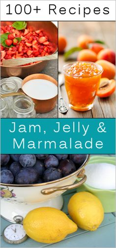 Over 100 jam, jelly, marmalade recipes. recipes-for-canning Jelly Recipes, Jam Recipes, Canning Recipes, Recipies, Fruit Recipes, Drink Recipes, Do It Yourself Food, Marmalade Recipe, Homemade Jelly
