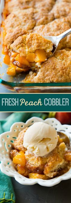 Fresh peach cobbler with perfectly sweetened ripe peaches and a golden biscuit topping to soak it all up! Perfect carefree, end of summer dessert recipe on sallysbakingaddiction.com!