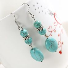 ZOSHI Brand design hot sales new fashion Personalized long natural blue stone long drop earrings for women vintage Earring(China (Mainland))