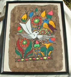Mexican Artwork Amate Bark Painting In Frame-- Here is a bark painting showing a white dove. The amate bark is the same material the Mayans used to write their records