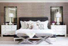 Get inspired by Glam Bedroom Design photo by The Interior Collection . Wayfair lets you find the designer products in the photo and get ideas from thousands of other Glam Bedroom Design photos. Velvet Tufted Headboard, Grey Headboard, Headboard Decor, Quilted Headboard, Headboard Makeover, Cushion Headboard, King Headboard, Glam Bedroom, Bedroom Decor