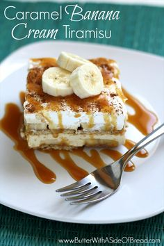 Caramel Banana Cream Tiramisu ~ simplified version! So easy and YUMMM! Butter with a Side of Bread #recipe #dessert