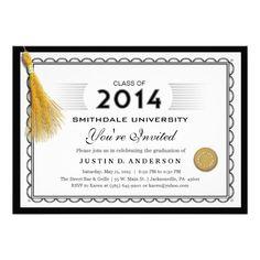 2014 Diploma Graduation Invite with Gold Tassel.  $1.95