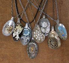 Vintage Spoon and Upcycled Jewelry Pendant by mitziscollectibles