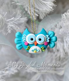 Handcrafted Polymer Clay Owl Ornament por MyJoyfulMoments en Etsy