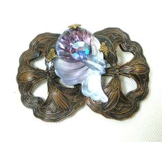 Vintage Rhinestone & Molded Glass Brooch BiColor by GreenDesertArt