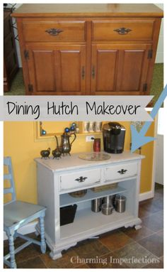 Converting this drab dining room hutch into a bright kitchen coffee buffet is easy and affordable!