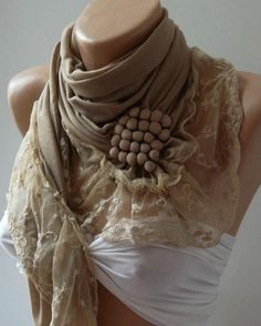 b650732eb05e Beige   Elegance Shawl   Scarf with Lacy Edge by womann on Etsy,  19.90  phenom