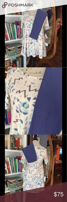 NWT LuLaRoe perfect OS leggings Never worn, only tried on. XS perfect tee different shades of blue green peach purple on cream background with side slits for tying if preferred, it is the softest leggings material. Buttery soft denim blue leggings unicorn hard to find yoga waistband. Perfect tee can size down 1-3 sizes depending on how lose you like your clothes. It's so soft and comfortable, I tried it on and fell in love!  Please check out my other listings. All sales final. Cross posted…