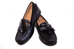Chaps Men's Shoes Black Textured Leather Kiltie Tassel Loafers Dress Casual 9M #Chaps #LoafersSlipOns
