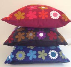 'Heidi' by Genia Sapper fabric cushions in 3 colour ways. 1960s vintage retro.
