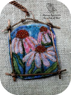 The landscape pendant Cone flower Felted pendant  Boho style  Hand-made by MarinaDyachenko on Etsy