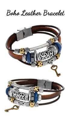This stylish piece is bound to give even the simplest ensemble a unique, bohemian touch. Made of genuine leather and featuring a stainless steel buckle clasp, this authentic Tera Jewelry bracelet stands out from the crowd!