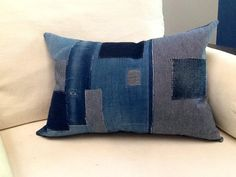 "Japanese Boro Style Pillow  with Natural feather insert included 16"" x 24"""