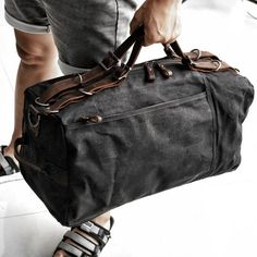 Vintage Leather Sling Backpack for Men Canvas Duffle Bag, Waxed Canvas Bag, Canvas Backpack, Canvas Leather, Duffle Bags, Leather Bags, Sling Backpack, Military Fashion, Military Style