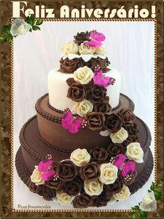 11 Chocolate Birthday Cakes Beautiful Photo - Beautiful Chocolate Birthday Cakes, Beautiful Chocolate Birthday Cakes and Chocolate Birthday Cake Designs Wedding Cakes With Flowers, Beautiful Wedding Cakes, Gorgeous Cakes, Pretty Cakes, Cute Cakes, Amazing Cakes, Cake Flowers, Cake Wedding, Yummy Cakes