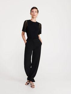 Bluză cu mâneci din dantelă - negru - XO070-99X - RESERVED - 1 Lace Sleeves, Jumpsuit, Normcore, Dresses, Style, Fashion, Overalls, Vestidos, Swag