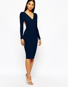 Club L Slinky Ruched Long Sleeve Bodycon Dress
