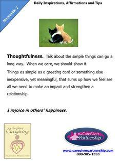 November 2: Thoughtfulness  #caregiver  http://www.caregiverpartnership.com/