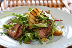 Duck Salad with Grilled Pear, Rocket and Red Wine Vinaigrette - Maggie ...