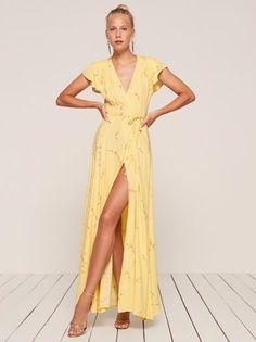 Sparrow yellow wrap maxi dress Reformation