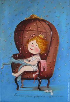 """Купить Картина маслом . """"Некоторые девочки сразу рождаются принцессами"""" - картина, картина маслом, Живопись"""
