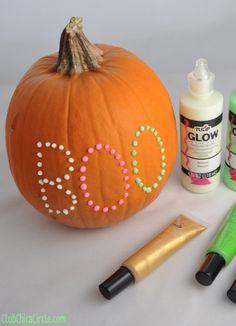 Glow in the Dark Puffy Paint Polka Dot Pumpkin
