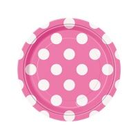 It's an electric bubble pop of fun when you add these Hot Pink Polka Dot Dessert Plates to your party supplies! These round paper plates measure about 7 inches in diameter, and feature a bright pink background with lots of bold white dots. Polka Dot Cakes, Polka Dot Party, Party Plates, Party Tableware, Dessert Plates, Cake Plates, Bath And Beyond Coupon, Blue Party, Party Items
