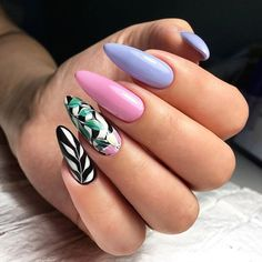 Cool long stiletto nails with colorful print Pink Nail Art, Blue Nails, Fancy Nails, Trendy Nails, Perfect Nails, Gorgeous Nails, Nail Art Tropical, Hair And Nails, My Nails